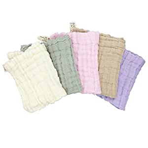 Angel Baby/Adult Sensitive Skin Soft 100% Cotton Towel/Washcloths With Hooker ,Pack of 5 (Pack of 5, Multicolor)