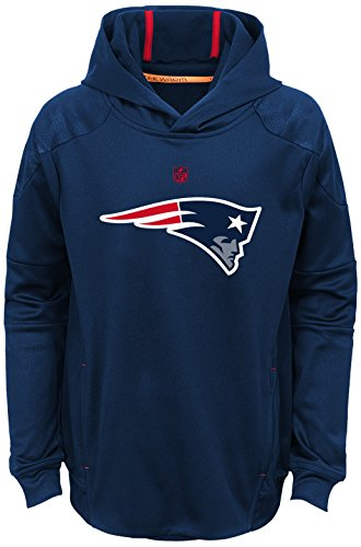 NFL Youth Boys 'Mach' Pullover Hoodie-Dark Navy-M(10-12), New England Patriots
