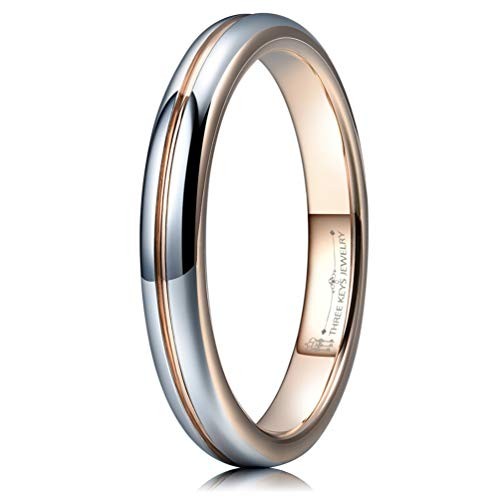 THREE KEYS JEWELRY 3mm Womens Wedding Ring White Tungsten Carbide Wedding Band 18K Rose Gold Grooved Polished Engagement Ring Size 3.5