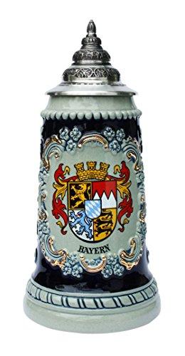 Bavaria Crest Souvenir Beer Stein By King Werk | Bavaria State Crest Coat of Arms German Beer Stein 0.5 Liter
