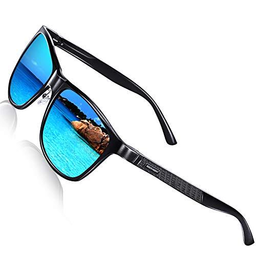 ROCKNIHGT Fishing Polarized Sunglasses for Men Women Blue Mirrored Sunglasses Men Beach Outdoor Al-Mg Big Head Sunglasses