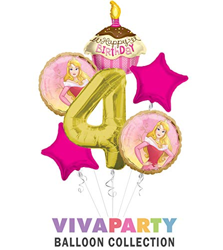Princess Aurora Once Upon A Time Happy Birthday Balloon Bouquet 6 pc, 4th Birthday, | Viva Party Balloon Collection