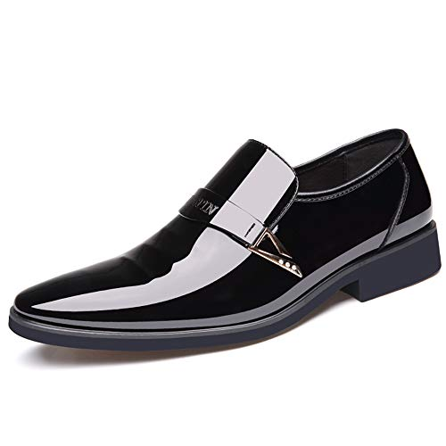 - Hilotu Men's Business Oxford Shoes Casual Low-top Breathable Metallic Sequins Patent Leather Prom Dress Shoes (Color : Black, Size : 8 D(M) US)