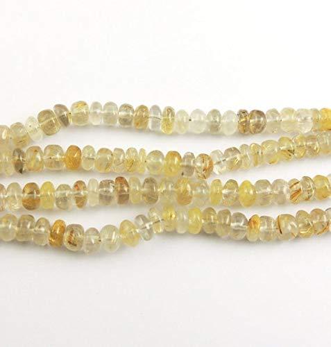 GemAbyss Beads Gemstone Big Halloween Sale 4 Full Strands Golden Routile Smooth Rondelles - Golden Routail Smooth Roundelles Beads 6mm 8 Inches Long Strand SB899 Code-MVG-37006