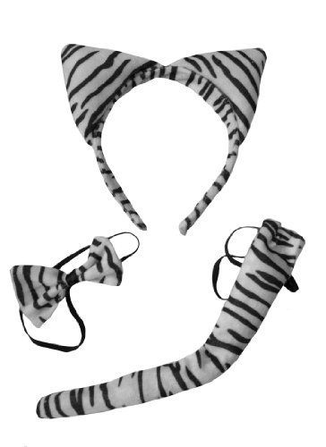 Soft Black White Furry Zebra White Tiger Ears Band Bow Tail Fancy Dress Up for $<!--$12.98-->