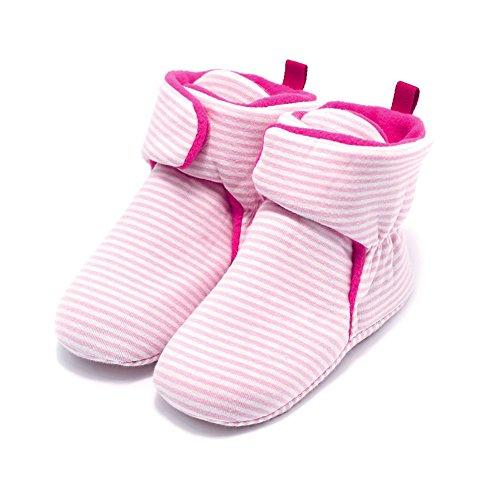 Zhuhaixmy Baby Schuhe Junge Mädchen Kleinkind Anti-Rutsch Hohe Stiefel Erstes Gehen Schuh 0-24 Monate 12 Farbe Rosa Streifen