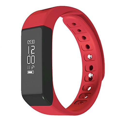 Ginsy Wireless Fitness Tracker with Sleep Monitor Activity Watch Sports Pedometer Wristband for Men Kids Women (Red)