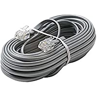 50 FT Telephone Line Cord Satin Silver Modular 4 Copper Wire Conductor RJ11 Voice 6P4C 28 AWG RJ11 Plug Connector Each End 6P4C Flat Phone Cord Cable RJ-11 Cross-Wired for VoIP