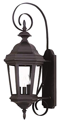 Kenroy Home 16313BL Estate 3-Light Medium Wall Lantern, Black (Light Gate 3 Manor)