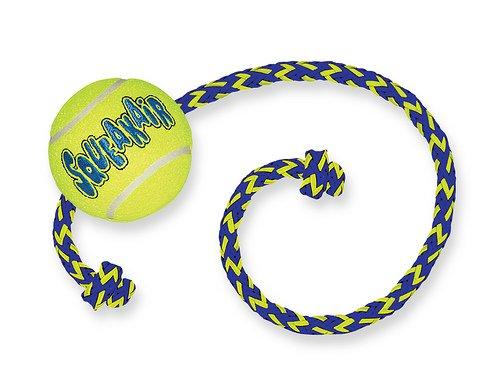 SqueakAir Ball with Rope Medium (Tennis Ball Rope With Dog Toy)