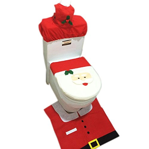 Collager Santa Toilet Seat Cover and Rug Bathroom 4 Pcs Set