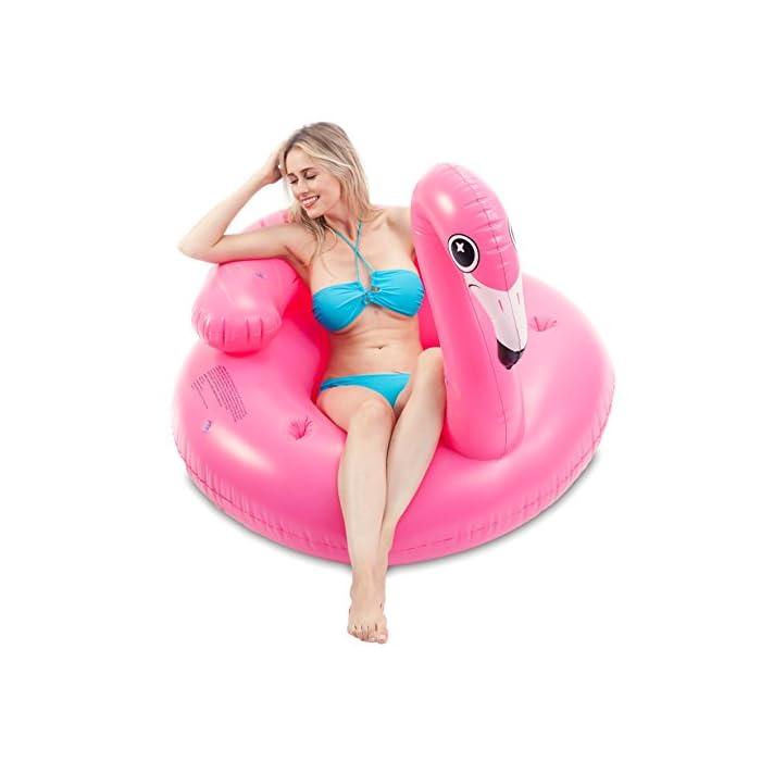 """41zdw9BBkLL Adorable flamenco inflado con diámetro 45 """"de JOYIN, ¡Salón de la piscina de diseño único! Dimensión inflada: 45"""" x 50 """"x 39"""". Este colchoneta hinchable hay 2 portavasos y reposacabezas. El diseño exclusivo de la almohada, se puede sentir más comodidad y relajación. Diseño nuevo y premium: un flamenco rosado tropical con dos portavasos y ojos lindos y centelleantes."""
