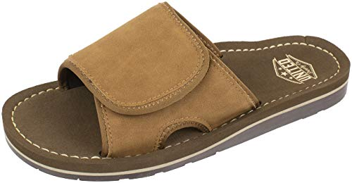 - UNITED SUPPLY CO. Slide Sandal, Adjustable Strap with Premium and Classic Comfort, Tan, Size Large / 10-11, 10 to 11