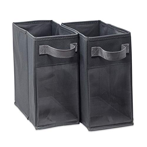 EASYVIEW Storage Basket Half Cube Bins with Clear View Mesh Side, 2-Handles All Woven Oxford Nylon Bin, 6 X 10.5 X 10-Inches Each, Set of 2 - Extra Wide Clear View Storage