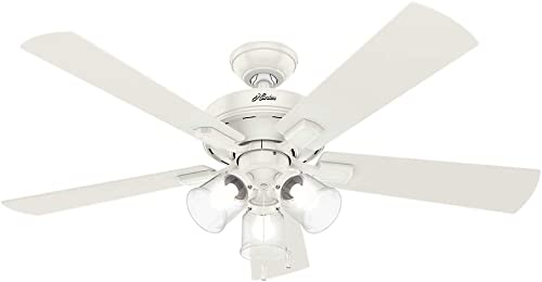 Hunter Crestfield Indoor Ceiling Fan with LED Lights and Pull Chain Control, 52 , Fresh White