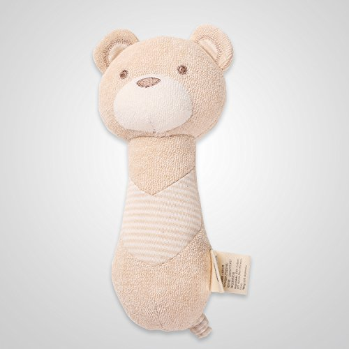 Squeaky Baby Bear - Cottonbebe Organic Natural Squeaky Toy Baby Soft Toys Stuffed Toys With DuPont Sorona For Toddle and newborn baby (Bear Stick)