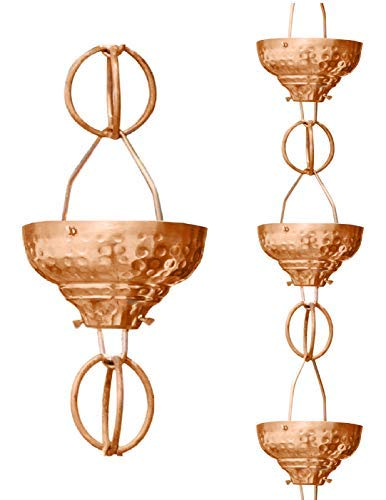 Monarch Pure Copper Eastern Hammered Cup Rain Chain 8-1//2-Feet Length Pack of 4