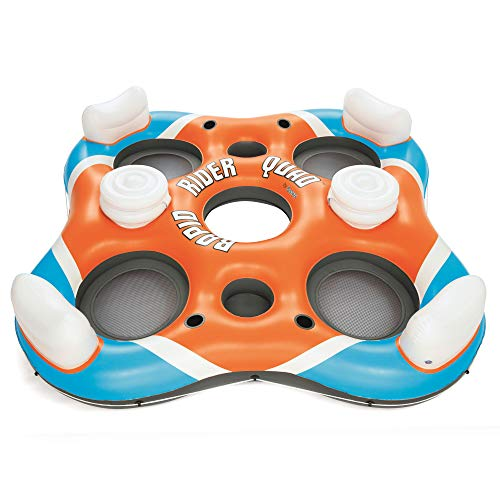 Bestway 43115E 101 Inch Rapid Rider 4 Person Floating Island Raft w/ Coolers