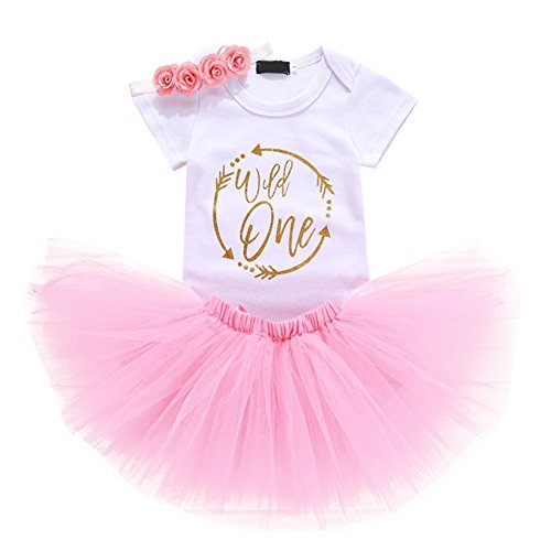 Baby Girls 1st Birthday Cake Smash 3pcs Outfits Set Cotton Romper Bodysuit+Tutu Dress+Flower Headband Princess Skirt Clothes Pink Arrow Wild one Outfits One Size]()