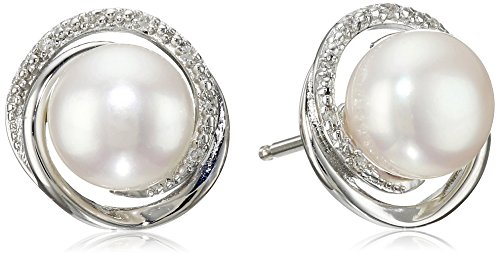 Sterling Silver White Freshwater Cultured Pearl with Diamond Accent Swirl Stud Earrings (Freshwater Pearl Swirl)