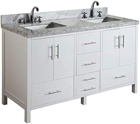 California 60-inch Double Bathroom Vanity Carrara/White : Includes White Cabinet