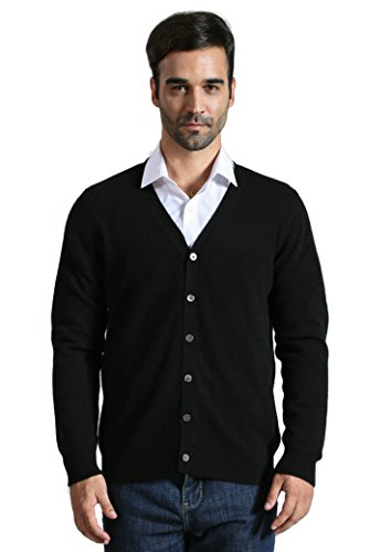 DYS CASHMERE Men's 100% Cashmere Button Front Long Sleeve Cardigan Sweater