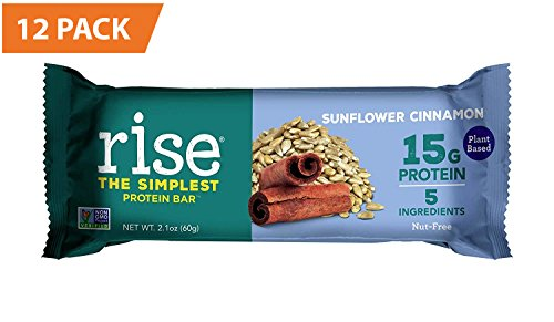 Bar Egg - Rise Bar Non-GMO, Gluten Free, Vegan, Paleo, Plant Based Protein Bar made with Pea Protein (15g), No Added Sugar, Sunflower Cinnamon High Protein Bar with Fiber & Vitamins 2.1oz, (12 Count)