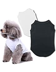 Chol & Vivi Dog Shirts Clothes, Dog Clothes T Shirt Vest Soft and Thin, 2pcs Blank Shirts Clothes Fit for Extra Small Medium Large Extra Large Size Dog Puppy, Extra Large Size, Black and White