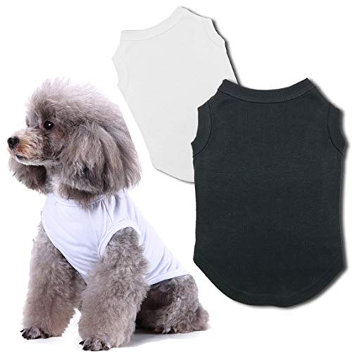 Chol&Vivi Dog Shirts Clothes, Dog Clothes T Shirt Vest Soft and Thin, 2pcs Blank Shirts Clothes Fit for Extra Small Medium Large Extra Large Size Dog Puppy, Medium Size, Black and White