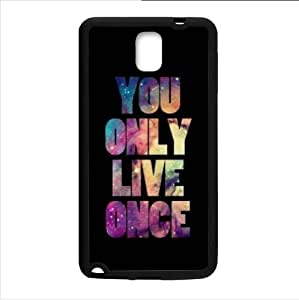 Case ,Watercolor Word YOLO(You Only Live Once) Samsung Galaxy Note 3 III TPU (Laser Technology) Case, Cell Phone Cover