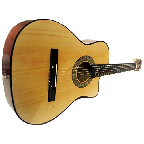 Full Size Acoustic Country/Bluegrass Cutaway Guitar with Gig Bag (Natural) by Shop4Omni