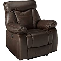 Zimmerman Power Glider Recliner with Pillow Arms Dark Brown