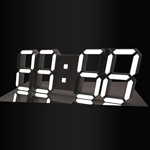 Gooday 3D LED Digital Clock Modern Design Multi-Functional Wall Clocks with Remote Control Temperature Calendar Countdown Timing-White (Led Wall Clock)