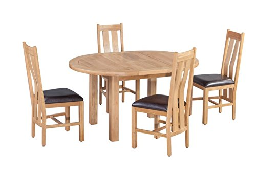 Trithi Furniture Rancho American Solid Oak Oval Extendable Table and Upholstered Seat Chair Set of 5 - Natural Oak - 100% American Solid Oak Oval Extendable Table and Upholstered Seat Chairs in Natural Color Table and Chair Dimensions (Inch): L57.00/42.00, W:42.00, H:30.00 | L16.00, W:17.00, H:40.50 - kitchen-dining-room-furniture, kitchen-dining-room, dining-sets - 41zdzPsXwtL -