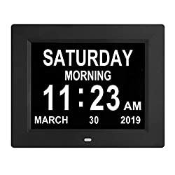 [Newest Version] Digital Calendar Day Clock with 8 Alarm Options, Extra Large Non-Abbreviated Day&Month for Seniors, Elderly, Memory Loss, Alzheimer