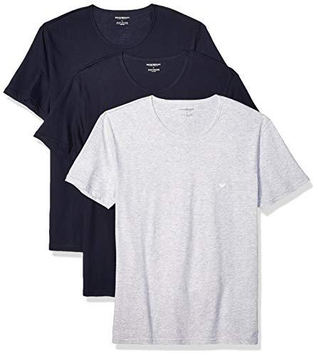 Emporio Armani Men's Cotton Crew Neck T-Shirt, 3-Pack, Grey Navy, Large