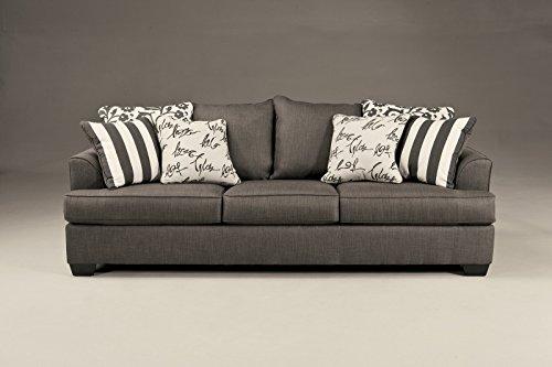 Ashley Furniture Signature Design Levon Microfiber Sofa in Charcoal