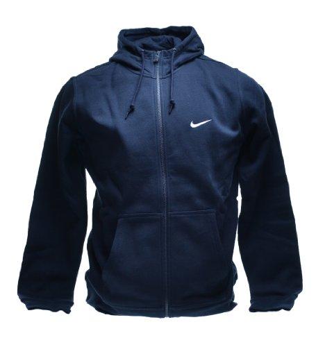 Nike Men's Club Swoosh Full Zip Fleece Hoodie, Dark Obsidian, L ()