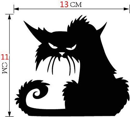 2018 Happy Halloween Decor,Feccile 1PC Vinyl Removable Wall Sticker Halloween Black Cat Window Door Decor Decals Wallpaper ()