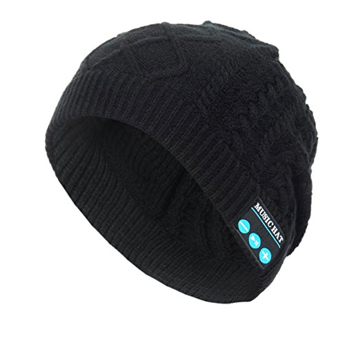 Rasse Bluetooth Hat Wireless Unisex Knit Beanie Cap With Built- in Stereo Headphones and Earphones for Sport Running Walking (Audio Snowboard Hard Hat)