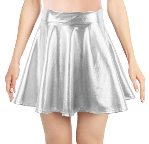 Simplicity Women's Metallic Ballet Dance Flared Skater Skirt Fancy Dress, Silver -
