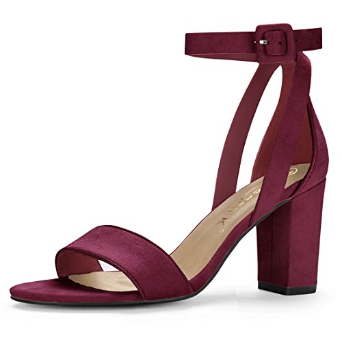 Womens Shoes Burgundy (Allegra K Women's PU Panel Chunky Heel Ankle Strap Sandals (Size US 8.5) Burgundy)