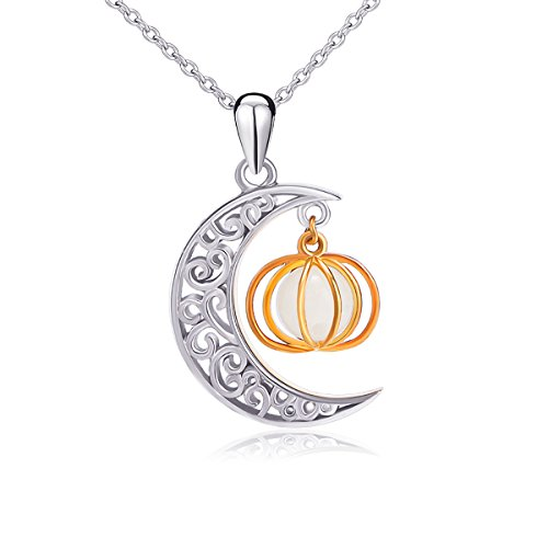 Halloween Jewelry (925 Sterling Silver Moon and Pumpkin Luminous Beads Glow Pendant Necklace, 18 inches)