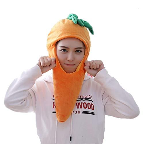 HYYER Carrot Hat carota Vegetables Cap Funny Plush Gift Cosplay Halloween Easter Party -