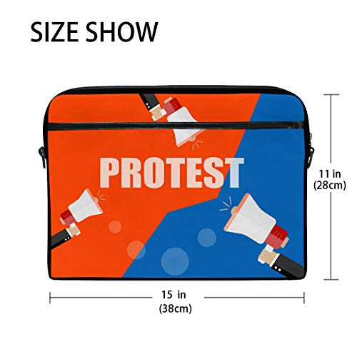 Signs Hands 15 Laptop Bennigiry Messenger Shoulder 4 inch Protest Canvas Holding Briefcase 15 Bag Bag Fits Bullhorn fCqptd