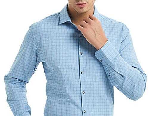 Nolwenn Men's Dress Shirt Spread Collar Long Sleeve (Pacific Blue, Small) Blue Check Pinpoint Dress Shirt