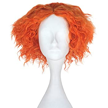 Miss U Hair Men Adult Short Curly Hair Unisex Yellow Orange Lolita Cosplay Costume Wig (Orange)