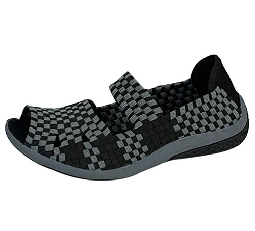 Anguang Casual Sandalias Mujer Tejido Playa Negro Zapatillas Respirable Casual Zapatos Ligero Zapatos pzrpqwSx