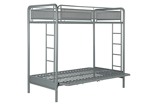 DHP Rockstar Metal Bunk Bed, Twin-Over-Futon - Silver (Place Twin Loft Bed)
