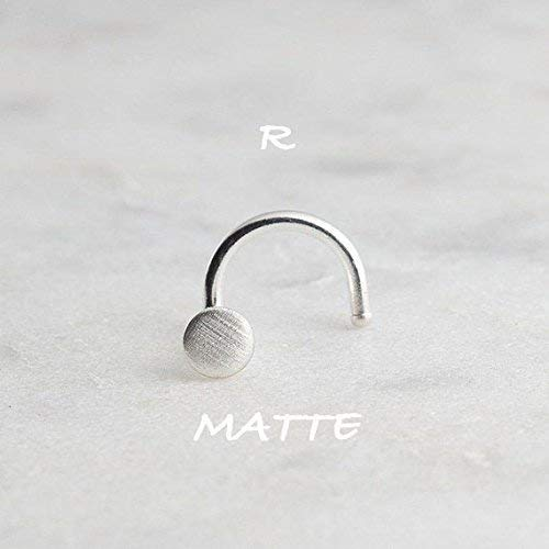 Silver Nose Hoop Stud Matte Silver Nose Ring Earring Matte 3mm disc 20 gauge by Fashion Art Jewelry